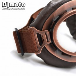 2017 NEW WWII Vintage Harley Style Motorcycle Motocross Scooter Goggles Aviator Pilot Cruiser Style With Leather Strap And Copper Frame