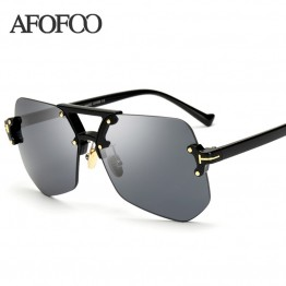 AFOFOO 2017 Womens New Fashion Luxury Designer Rimless Sunglasses UV400 Protection