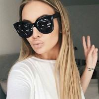 AFOFOO WOMENS VINTAGE LUXURY FASHION CAT EYE SUNGLASSES BIG FRAME UV400