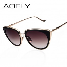 AOFLY New Luxury Fashion Designer Womens Hot Seller Cat Eye Sunglasses Metal Frame Comes With Sunglass Bag And Lens Cloth UV400 Protection