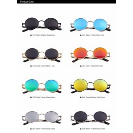 Classic Fashion Designers Vintage Gothic Steampunk Round Sunglasses Men/Women Mirrored UV400 Protection High Quality