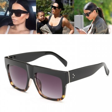 Luxury Fashion Designer Kim Kardashian Flat Top Sunglasses For Women Very High Quality Full UV400 Protection Includes Soft Case And Lens Cloth
