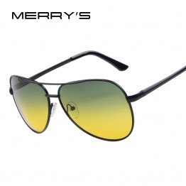 MERRY'S TRENDING MENS POLAROID NIGHT VISION DRIVING SUNGLASSES 100 PERCENT POLARIZED PILOT STYLE WITH CLEANING CLOTH AND CARRYING BAG