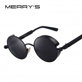 MERRY'S Vintage Designer Fashion Womens Round Steampunk Sunglasses With Carrying Bag And Lens Cloth UV400 Protection