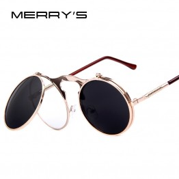 MERRY'S Womens HOT High Fashion Flip VINTAGE Designer STEAMPUNK Round Metal Frame