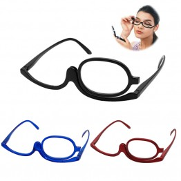 HOT SELLER COSMETIC HIGH QUALITY MAKEUP EYEGLASSES WITH ROTATABLE LENS A MUST FOR DOING YOUR MAKEUP COMES IN RED BLUE BLACK AND VARIOUS READING DEGREES