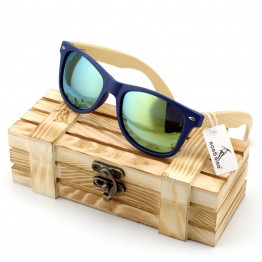 Mens Designer Vintage Bamboo Wood Sunglasses Polarized UV Protection With Storage Gift Box And Carrying Pouch