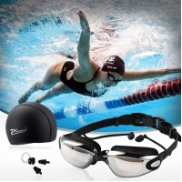 2017 New Professional Sports Swim Goggles With Cap Ear Plugs And Nose Clip Waterproof For Both Men/Women Anti-fog High Quality UV Full Protection